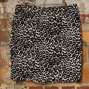 J. Crew leopard basket weave skirt